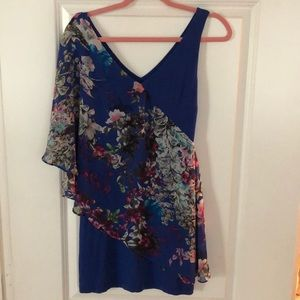 Blue floral sheer and cloth Bebe dress